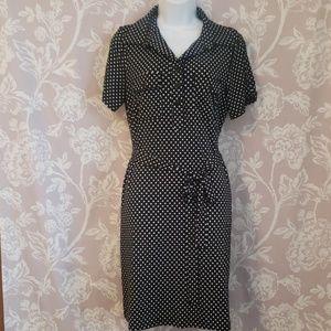 Knee length polka dot dress